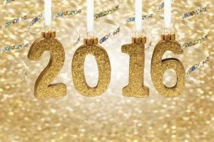 Glittery golden 2016 number decorations hanging from ribbon agai